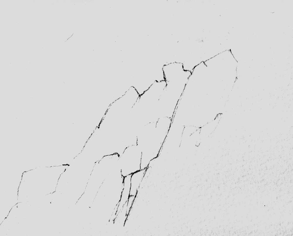 Cliff shape sketched in pencil